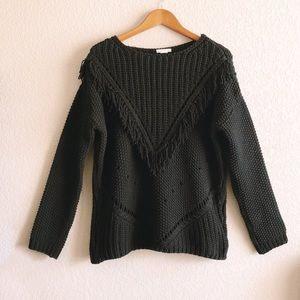H&M Front Fringe Black Sweater